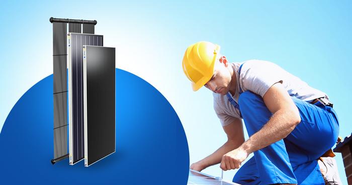 instalação do aquecedor solar